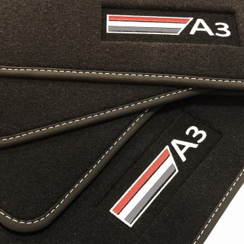 Tapetes Audi A3 8VA Sportback (2013 - atualidade) veludo logo